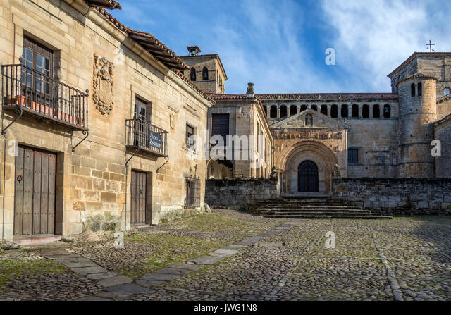 The Church of the Colegiata in Santillana del Mar, an historic town situated in Cantabria in northern Spain. It - Stock Image
