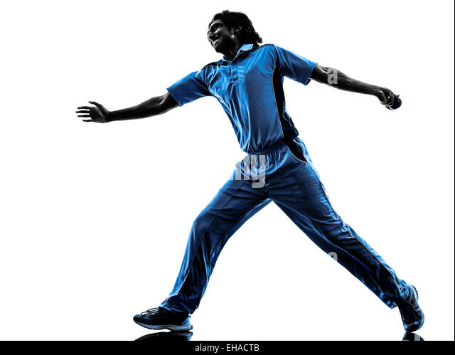 pitcher Cricket player in silhouette shadow on white background - Stock Image