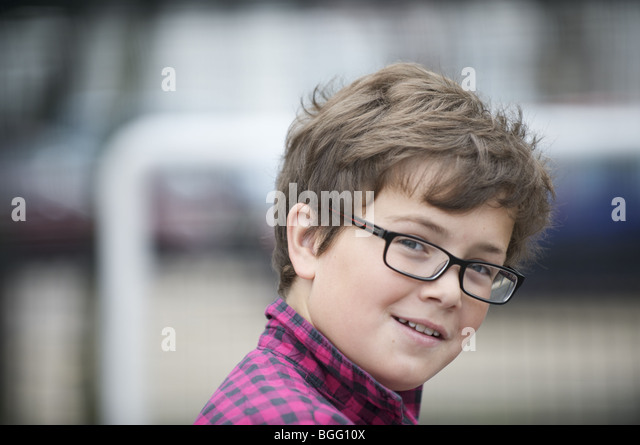 Boy with glasses - Stock Image