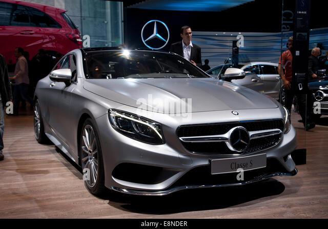 Mercedes S Class luxury German car Paris Motor Show Mondial de l'Automobile 2014 - Stock Image