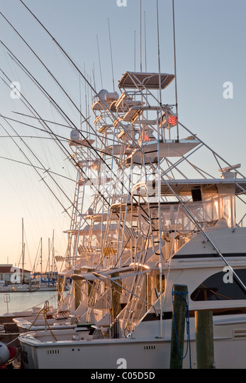 Sport Fishing boats moored, - Stock Image