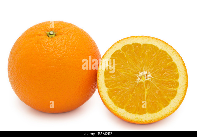 Whole Orange and Half - Stock Image