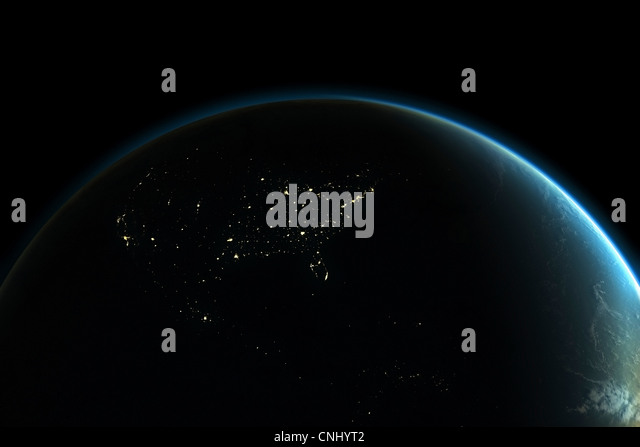 Planet earth with lights of North America at night - Stock Image