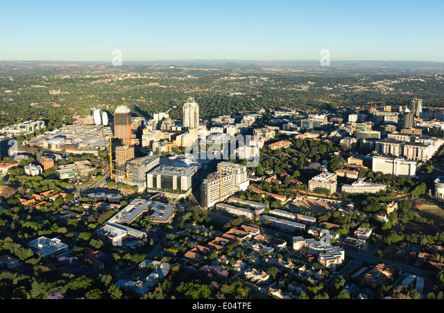 Aerial view of Sandton, Johannesburg,South Africa. - Stock Image