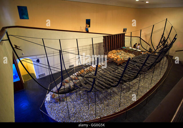 Interior of hall showing wreck reconstruction at Bodrum Castle and Museum of Underwater Archaeology, Bodrum town, - Stock Image