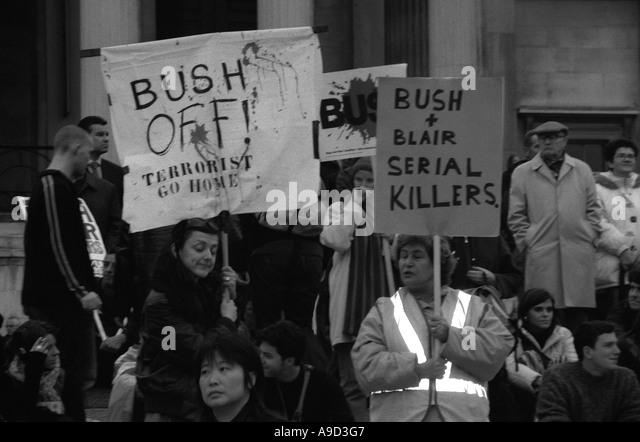 Bush off Anti Iraq War Demonstration in Trafalgar Square London England United Kingdom Europe - Stock Image