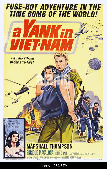 A YANK IN VIET-NAM, US poster art, right: Marshall Thompson, 1964. - Stock Image