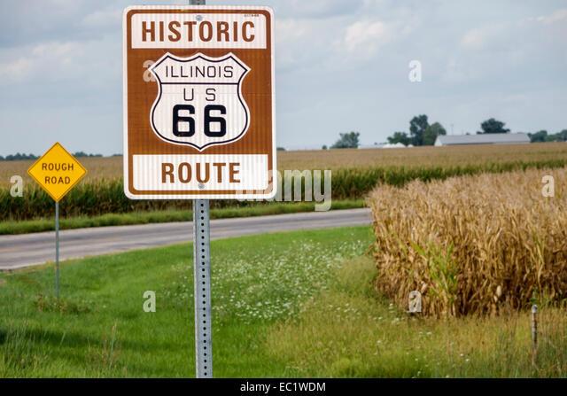 Illinois Waggoner Historic Route 66 sign corn cornfields rural - Stock Image