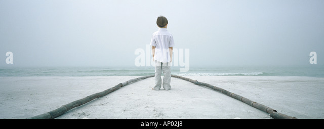 Boy standing in path on beach, facing horizon, rear view - Stock Image