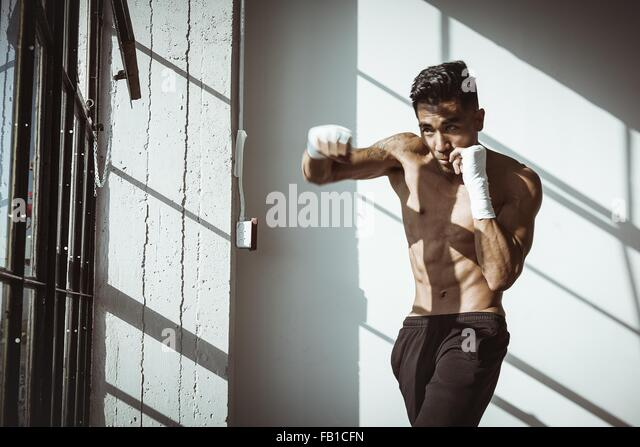Front view of young man in gym in boxing stance looking away - Stock-Bilder