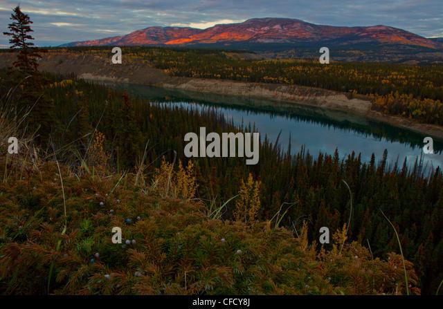 Alpenglow on Grey Mountain with Yukon River running beneath it, Whitehorse, Yukon, Canada. - Stock Image