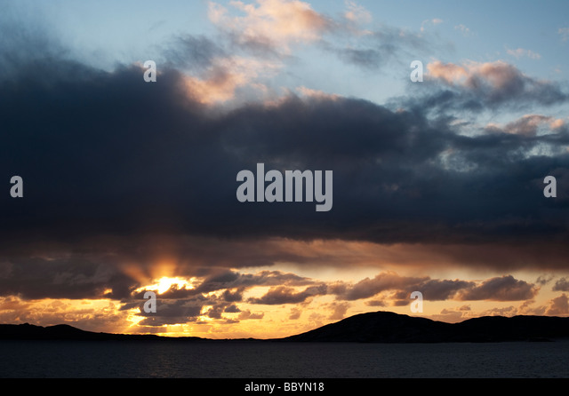 Sunset over Sound of Taransay , Isle of Harris, Outer Hebrides, Scotland - Stock-Bilder