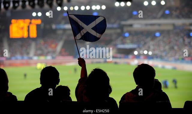 SCOTTISH FLAG ATHLETICS HAMPDEN PARK GLASGOW SCOTLAND 31 July 2014 - Stock Image