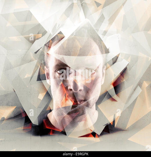 Stylized artistic conceptual young man portrait with chaotic polygonal broken fragments - Stock-Bilder