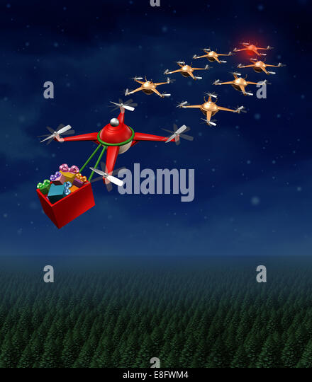 Drone christmas sled concept as group of organized drones in a reindeer sleigh formation with a santaclause flying - Stock-Bilder