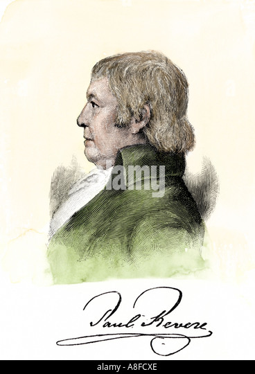 Paul Revere with his autograph - Stock Image