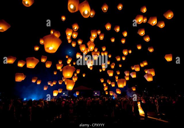 Taiwan, Taipei District, Shifen, Lantern festival - Stock Image