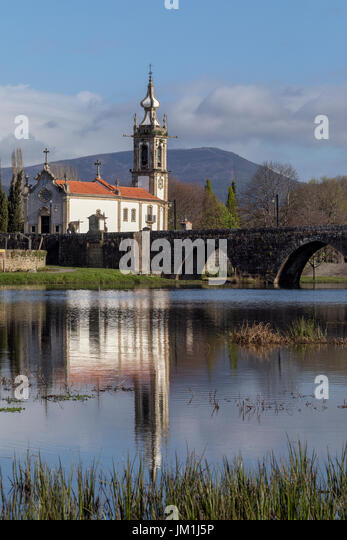 Ponte de Lima - Portugal. It is named after the long medieval bridge that passes over the Limia river that runs - Stock Image