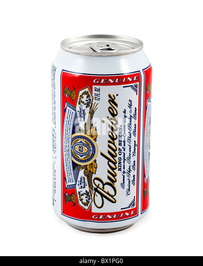 Can of Budweiser Beer, USA - Stock Image