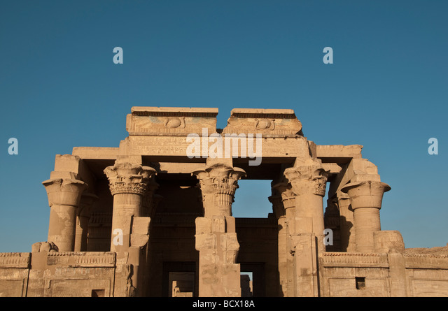 Egypt Kom Ombo Temple  showing the double entrance with papyrus columns - Stock Image
