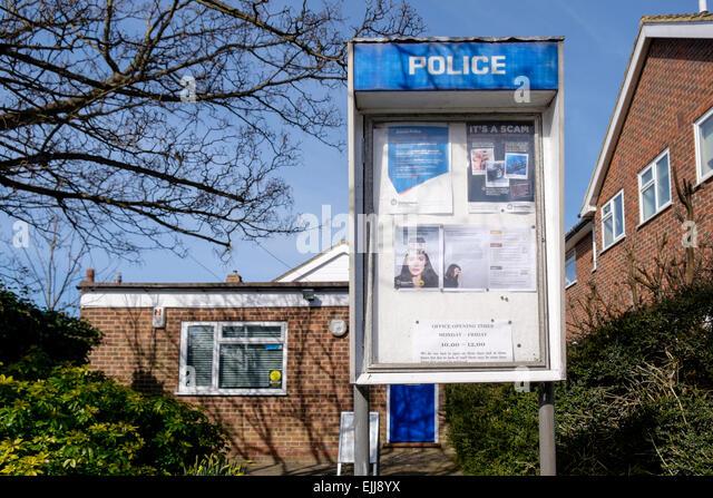 ferring police station in  volunteer run police office where opening hours can vary depending on volunteers' - Stock-Bilder