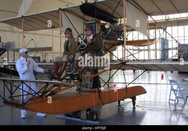 110212-N-3446M-157 SAN DIEGO (Feb. 12, 2011) Reenactors Ben Miller and Scott Steele dress in period aviation uniforms - Stock Image