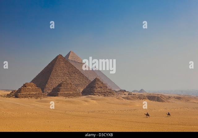 Giza Pyramids in Cairo, Egypt - Stock Image