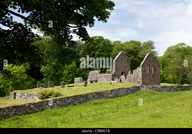 St Blanes church seen from the west Island way, Isle of Bute - Stock Image