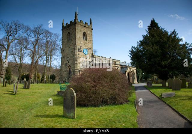Eyam Church in the Peak District, Derbyshire, England, UK, Landscape, Blue Sky - Stock Image