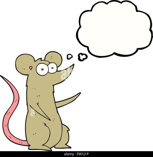 freehand drawn thought bubble cartoon mouse in love - Stock Image