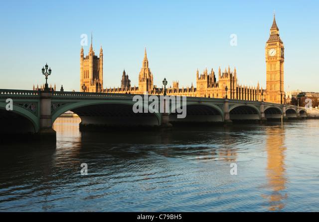 Big Ben; Houses of Parliament; Westminister Bridge; London; England - Stock Image