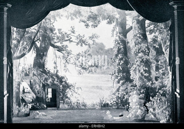 The enchanted glade from Wagner's (1813-1883) Parsifal. From the Bayreuth set designs, 1882. - Stock Image