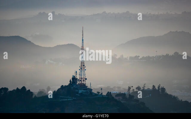Hollywood Hills with transmission tower, Los Angeles, Los Angeles County, California, USA - Stock Image