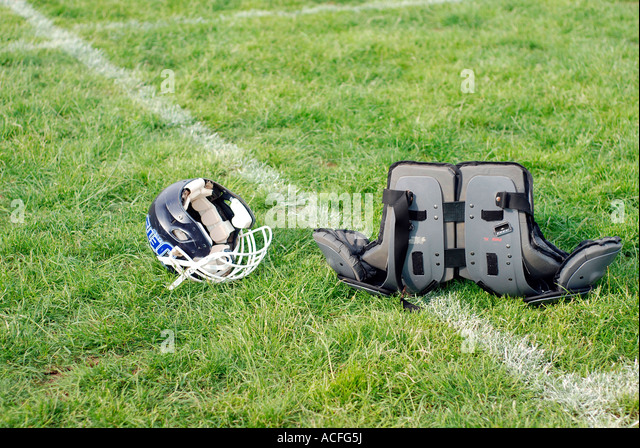 American Football Helmet and Pads - Stock Image