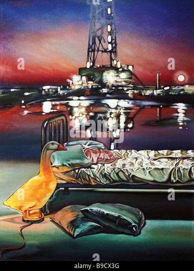 Reproduction of Pavel Borisov s painting Night - Stock Image