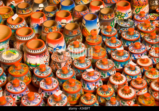 Chile San Pedro de Atacama clay pottery shopping  souvenirs small colorful containers Andes Highlands - Stock Image