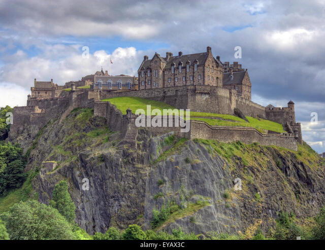 Edinburgh Castle with Dramatic sky, Old Town, Scotland - Unesco world heritage site, UK - Spring - Stock Image