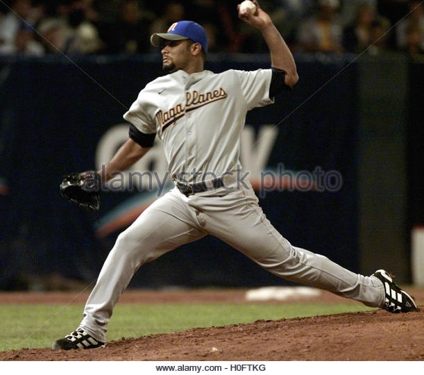 Venezuela's Magallanes Johan Santana pitches against Dominican  Republic's Licey Tigers in the 2002 Caribbean - Stock Image