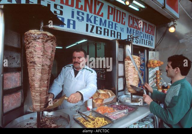 Turkey Istanbul Karakoy Quarter Ribtim Cadessi Derya Kafeterya doner kebab (skewered lamb) - Stock Image