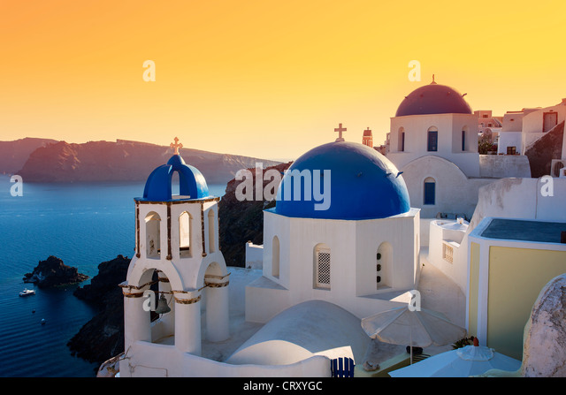 Santorini, Oia, Orthodox Church at Sunset - Stock Image
