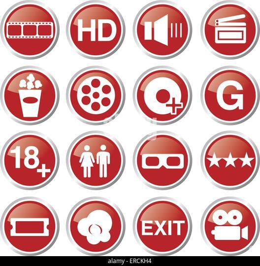 movie and cinema icon set - Stock Image