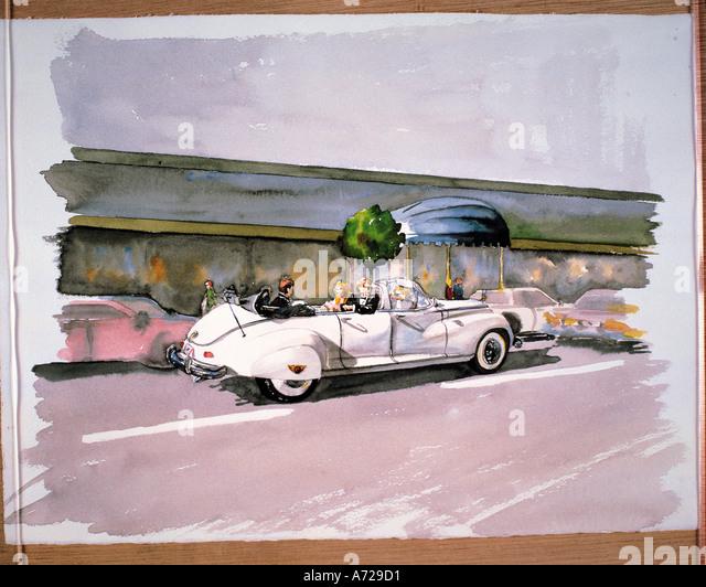 Watercolor of American cars in California - Stock-Bilder