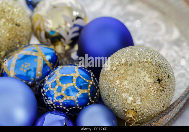 Blue gold christmas decorations on stock photos blue for Blue and gold christmas