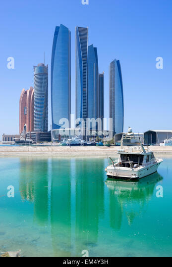 Etihad towers in Abu Dhabi United Arab Emirates - Stock Image