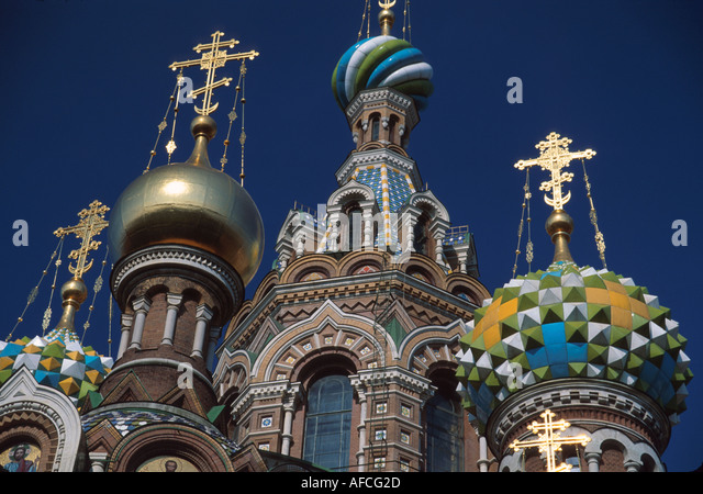 Russia former Soviet Union St. Petersburg Church on Savior's Blood Czar Alexander II killed here in colorful - Stock Image