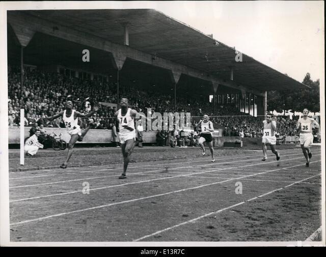 Mar. 27, 2012 - Athletics from three nations in Nuremberg. Nuremberg stadium was the scene of athletics contests - Stock Image