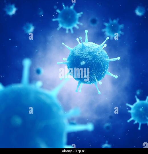 Viruses in infected organism , Viral disease pandemic , Vaccine research - Stock Image