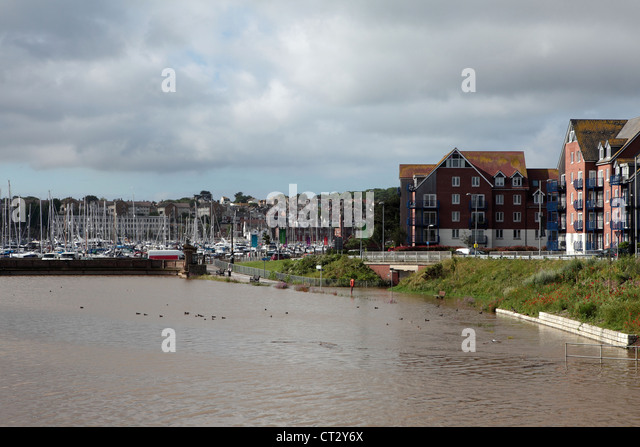 Weymouth Rains Flood Radipole Lane Prior to the Weymouth Sailing Olympics This Month - Stock Image