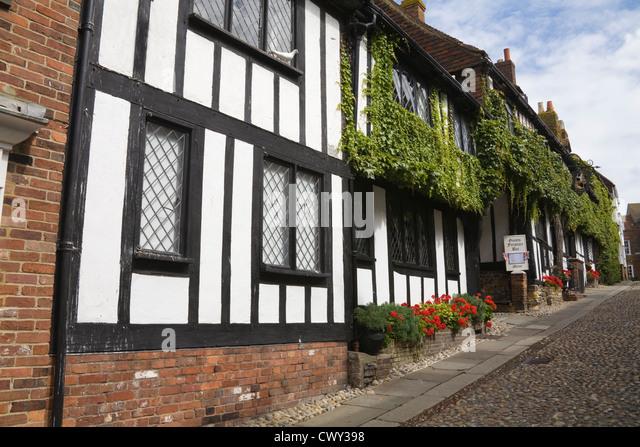 Rye East Sussex England UK Renowned Mermaid Inn in medieval cobbled Mermaid Street - Stock Image