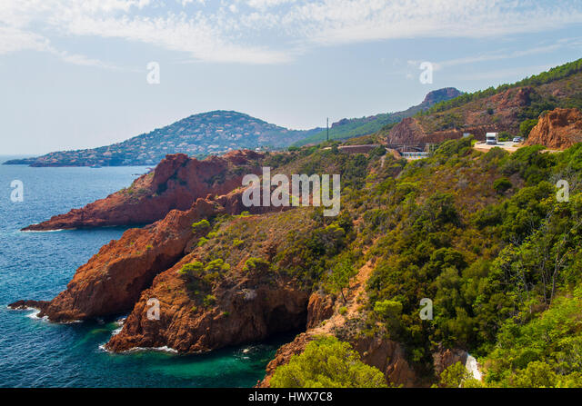 The French Riviera between Saint Tropez to Cannes - Stock Image